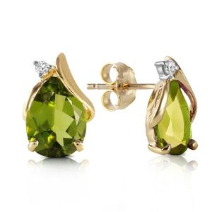 14K. SOLID GOLD STUD EARRING DIAMONDS & PERIDOTS